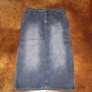 BP Baileys Point 14 jean cargo style maxi skirt